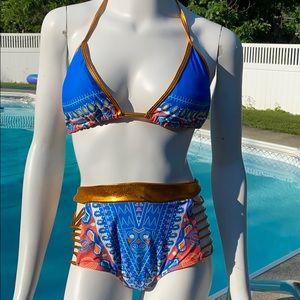 Tribal Print Bikini African Metallic Swimsuit